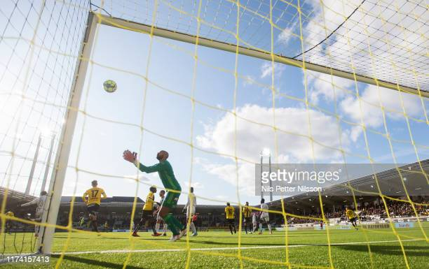 Aly Keita of Ostersunds FK makes a save during the Allsvenskan match between BK Hacken and Ostersunds FK at Bravida Arena on October 6 2019 in...