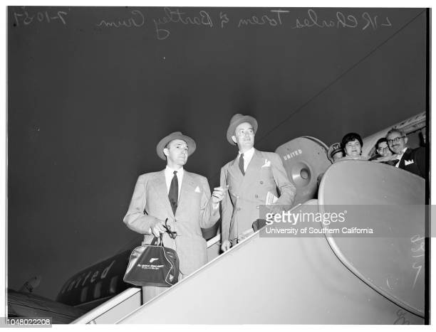 Aly Khan's attorney arrival July 10 1951 Charles Torem Bartley Crum newspaper reporters
