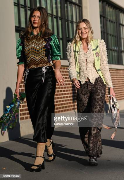 Aly Michalka and AJ Michalka are seen wearing Collina Strada outfits outside the Collina Strada show during New York Fashion Week S/S 22 on September...