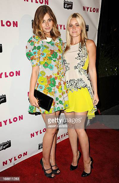 Aly Michalka and Amanda AJ Michalka attend Nylon Magazine's Young Hollywood issue event at The Roosevelt Hotel on May 14 2013 in Hollywood California