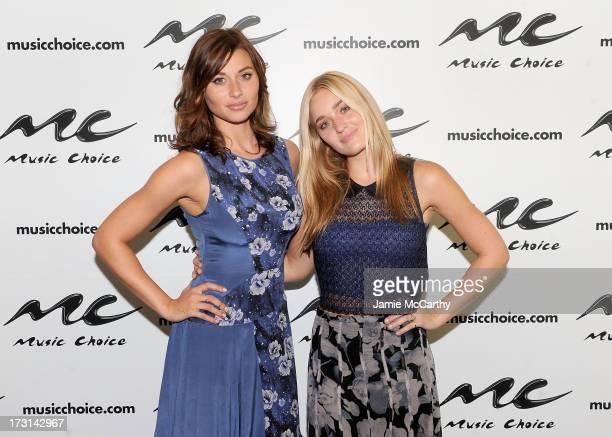 Aly Michalka and Amanda 'AJ' Michalka visit 'UA' at Music Choice on July 8 2013 in New York City