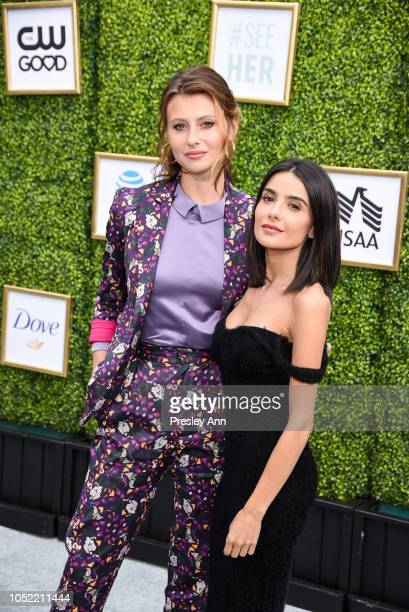 Aly Michalka and Mikaela Hoover attend The CW Network's fall launch event at Warner Bros. Studios on October 14, 2018 in Burbank, California.