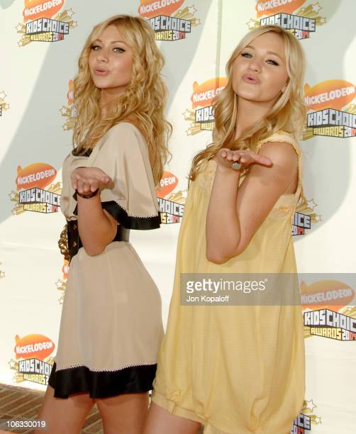 Aly Michalka and sister AJ Michalka during Nickelodeon's 20th Annual Kids' Choice Awards Arrivals at Pauley Pavilion UCLA in Westwood California...