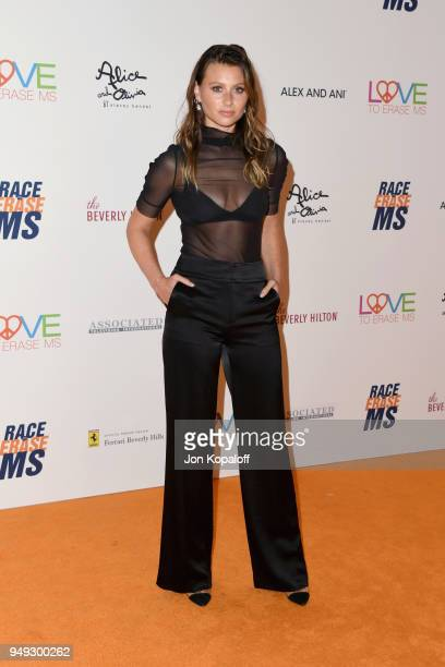 Aly Michalka attends the 25th Annual Race To Erase MS Gala at The Beverly Hilton Hotel on April 20 2018 in Beverly Hills California