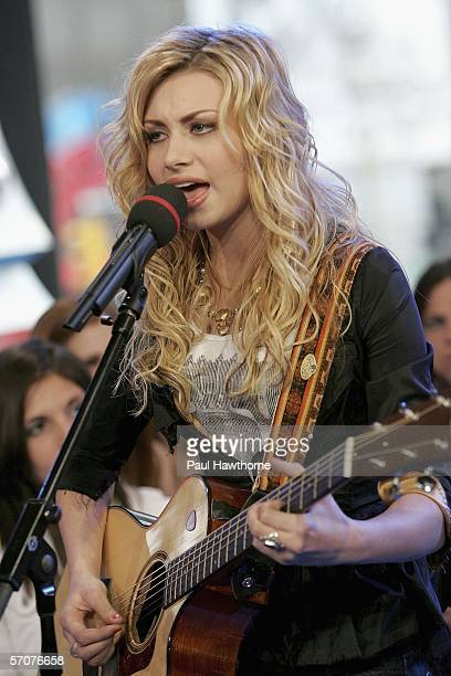 Aly, of sister singing act Aly and AJ, appears on MTV's Total Request Live at MTV's Time Square Studios March 13, 2006 in New York City.