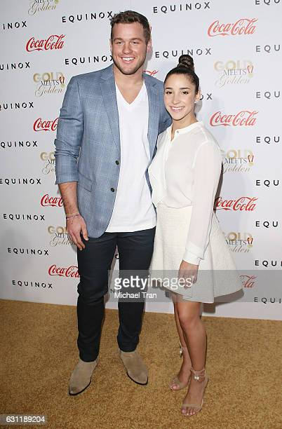 Aly Raisman and Colton Underwood arrive at the Gold Meets Golden event held at Equinox on January 7 2017 in Los Angeles California