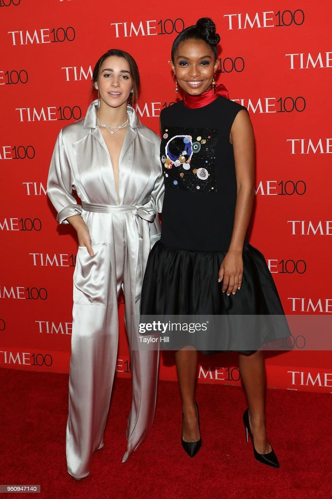 Aly Raisman and Yara Shahidi attend the 2018 Time 100 Gala at Frederick P. Rose Hall, Jazz at Lincoln Center on April 24, 2018 in New York City.