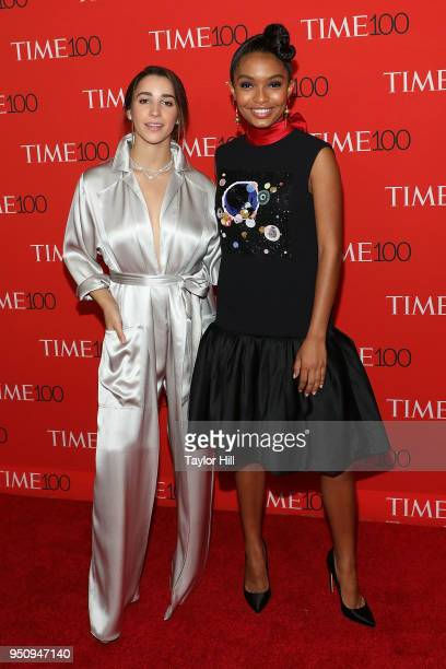 Aly Raisman and Yara Shahidi attend the 2018 Time 100 Gala at Frederick P Rose Hall Jazz at Lincoln Center on April 24 2018 in New York City