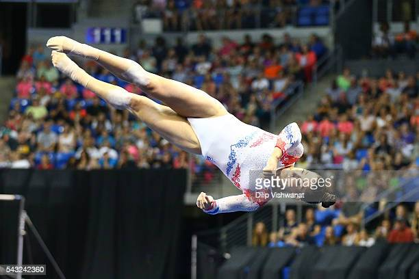 Aly Raisman competes in the floor exercise during day two of the 2016 PG Gymnastics Championships at Chafitz Arena on June 26 2016 in St Louis...