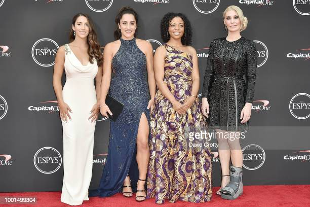 Aly Raisman Jordyn Wieber Tiffany Thomas Lopez and Sarah Klein attend The 2018 ESPYS at Microsoft Theater on July 18 2018 in Los Angeles California