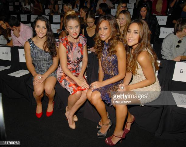 Aly Raisman Lauren Conrad Danielle Jonas and Kathleen Deleasa attend the Badgley Mischka show during Spring 2013 MercedesBenz Fashion Week at The...
