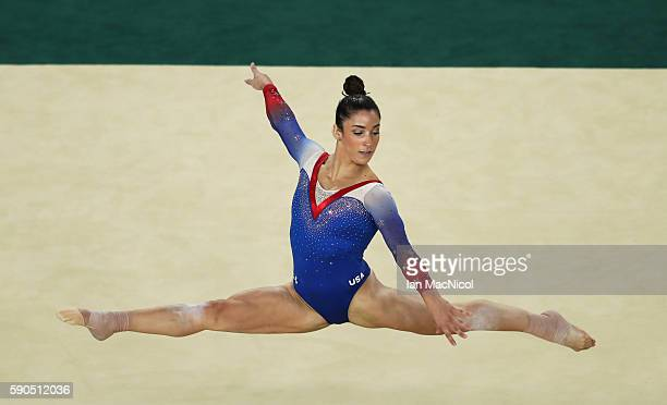 Aly Raisman of the United States competes during the Women's Floor Final at Rio Olympic Arena on August 16 2016 in Rio de Janeiro Brazil