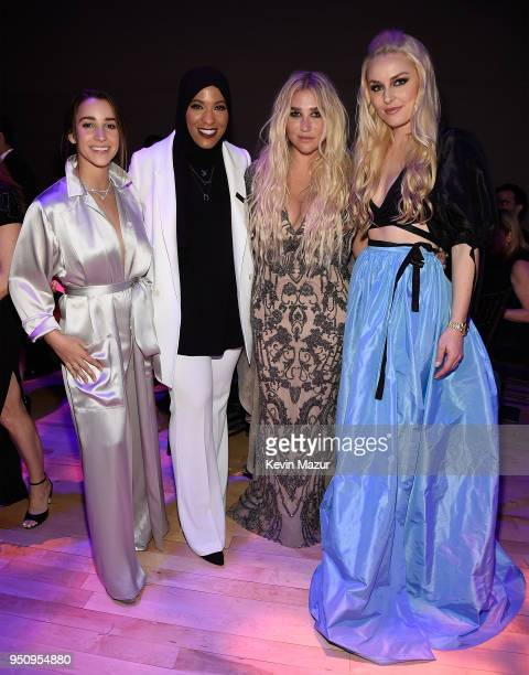 Aly Raisman Olympic Fencer Ibtihaj Muhammad Kesha and Lindsey Vonn attend the 2018 Time 100 Gala at Jazz at Lincoln Center on April 24 2018 in New...