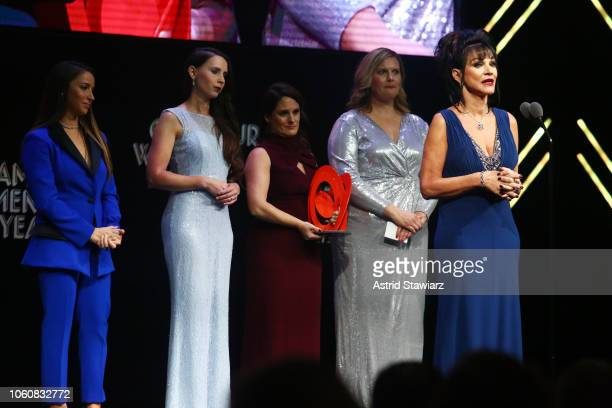 Aly Raisman, Rachael Denhollander, Andrea Munford, Angela Povilaitis, and Rosemarie Aquilina speak onstage at the 2018 Glamour Women Of The Year...