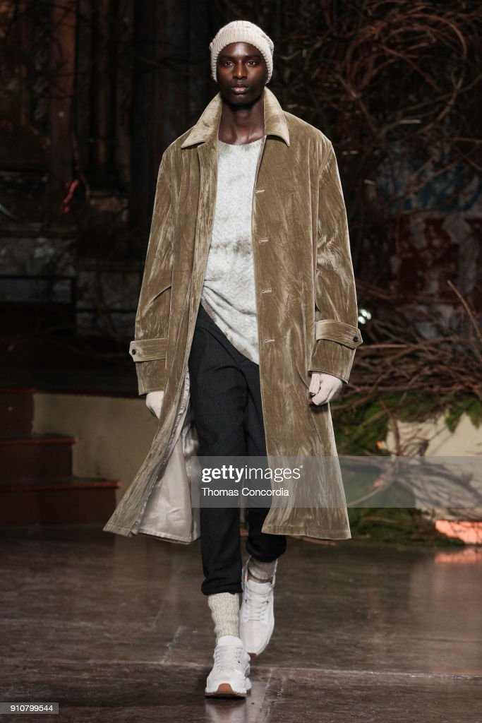 Aly walks the runway wearing John Varvatos Fall/Winter 2018, with makeup by Chika Chan for Make-Up Pro and Hair by Yannik D'Is for Cultler/Redken at the Angel Orensanz Foundation on January 26, 2018 in New York City.