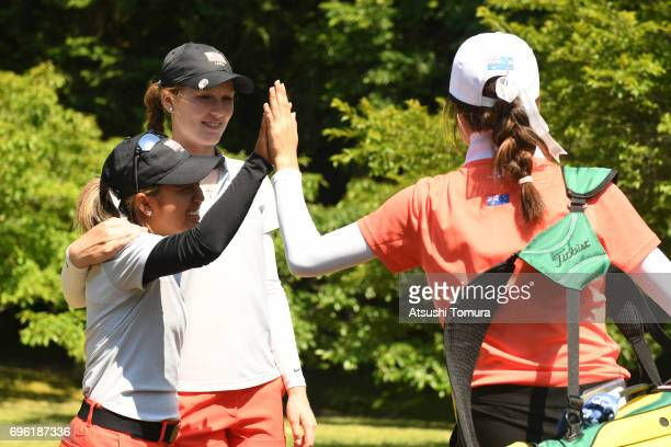 Alyaa Abdulghany of the USA greets during the third round of the 2017 TOYOTA Junior Golf World Cup at the Chukyo Golf Club Ishino Course on June 15...
