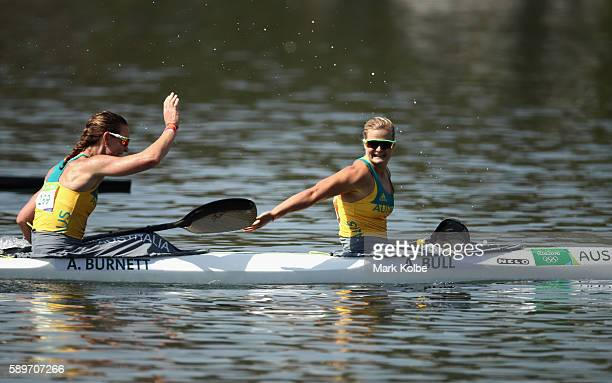Alyce Burnett and Alyssa Bull of Australia celebrate qualifying for the Final A after competing in the Canoe Sprint Women's Kayak Double 500m...