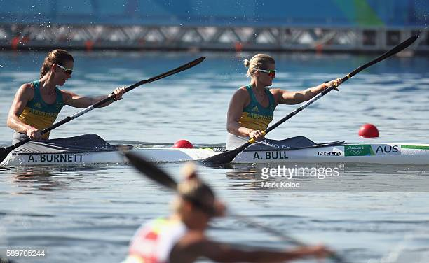 Alyce Burnett and Alyssa Bull of Australia compete in the Women's Kayak Double 500m Heat 1 on Day 10 of the Rio 2016 Olympic Games at Lagoa Stadium...