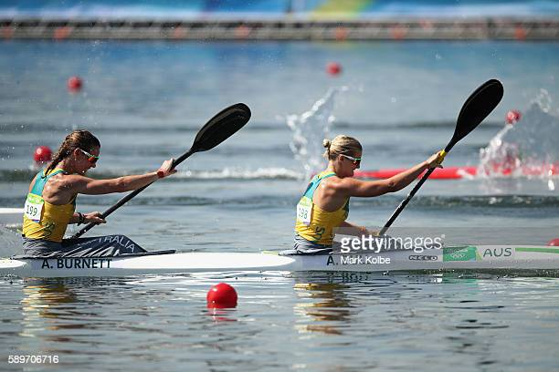 Alyce Burnett and Alyssa Bull of Australia compete in the Women's Kayak Double 500m Semifinal 1 on Day 10 of the Rio 2016 Olympic Games at Lagoa...