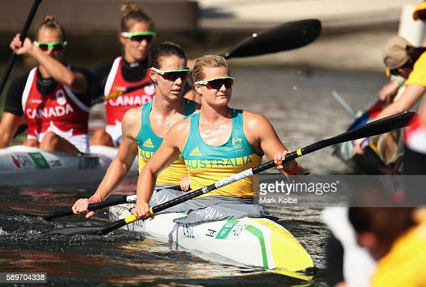 Alyce Burnett and Alyssa Bull of Australia react after competing in the Women's Kayak Double 500m Heat 1 on Day 10 of the Rio 2016 Olympic Games at...