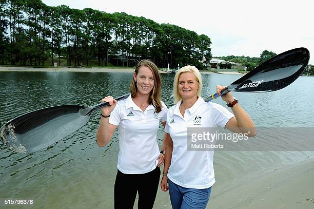 Alyce Burnett and Alyssa Bull pose during the Australian Canoe/KayakSprint 2016 Olympic Games Team Announcement at Mermaid Beach on March 16 2016 on...