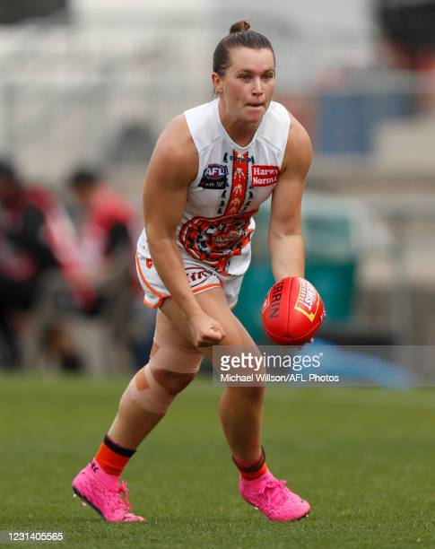 Alyce Parker of the Giants in action during the 2021 AFLW Round 05 match between the Western Bulldogs and the GWS Giants at VU Whitten Oval on...