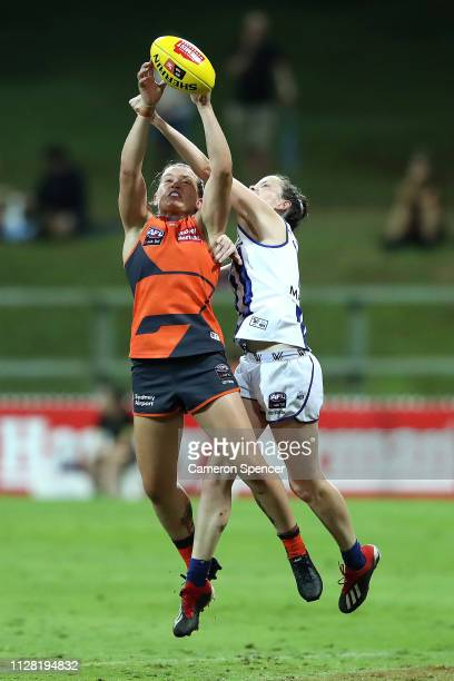 Alyce Parker of the Giants marks during the round two AFLW match between the Greater Western Sydney Giants and North Melbourne Kangaroos at Drummoyne...