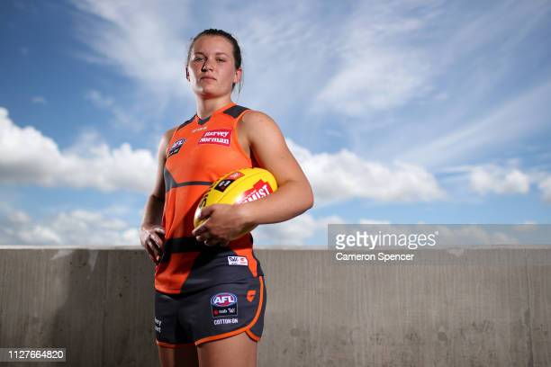Alyce Parker of the Giants poses during a Greater Western Sydney Giants AFLW media opportunity at Drummoyne Oval on February 06, 2019 in Sydney,...