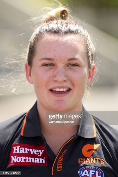 Alyce Parker of the Giants talks during a Greater Western Sydney Giants AFLW media opportunity at Drummoyne Oval on February 06, 2019 in Sydney,...