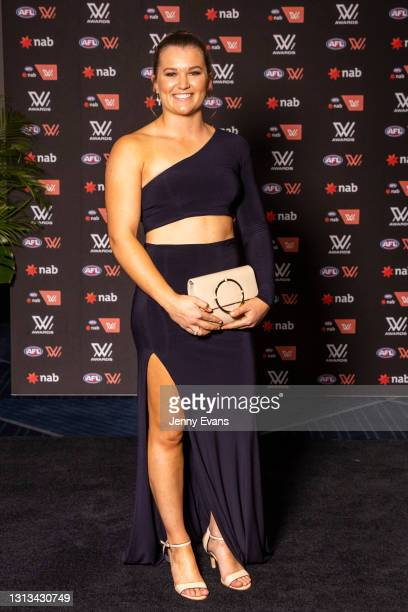 Alyce Parker of the GWS Giants arrives during the 2021 AFLW W Awards at Sydney Cricket Ground on April 20, 2021 in Sydney, Australia.
