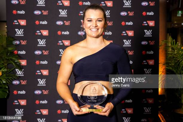 Alyce Parker of the GWS Giants hold her trophy after the NAB AFL Women's All Australian team announcement during the 2021 AFLW W Awards at Sydney...