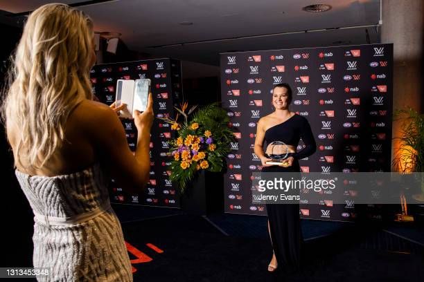 Alyce Parker of the GWS Giants poses for a photo after the NAB AFL Women's All Australian team announcement during the 2021 AFLW W Awards at Sydney...