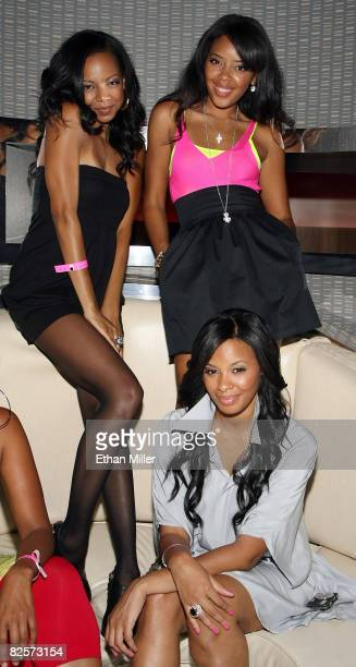 Alycia Bellamy and her friends Angela Simmons and Vanessa Simmons daughters of Joseph 'Rev Run'' Simmons appear at the Undrcrwn Experience party at...
