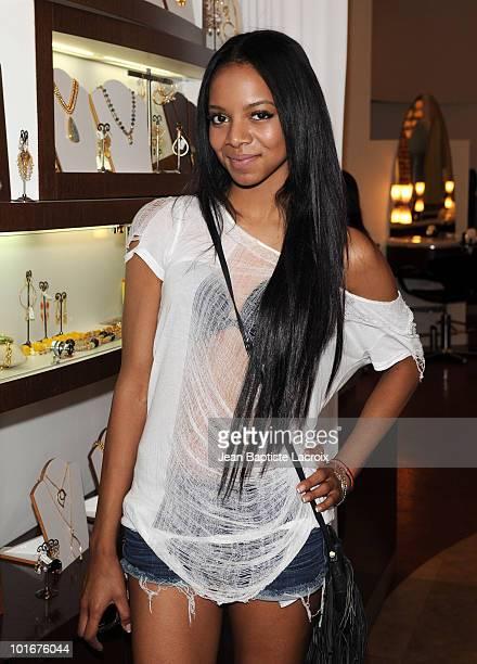 Alycia Bellamy visits Prive Hair Salon on June 6 2010 in Los Angeles California