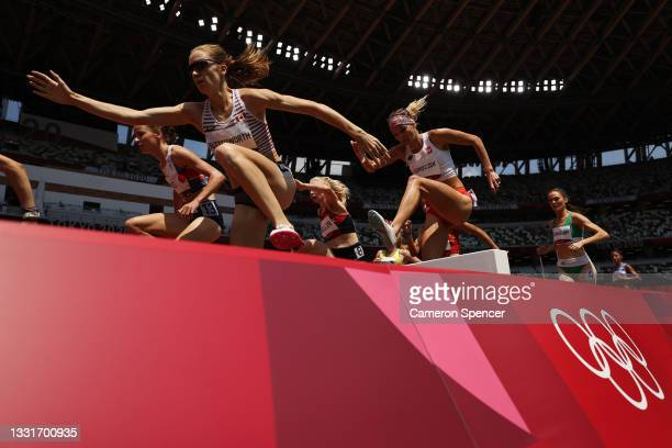 Alycia Butterworth of Team Canada competes in round one of the Women's 3000m Steeplechase heats on day nine of the Tokyo 2020 Olympic Games at...