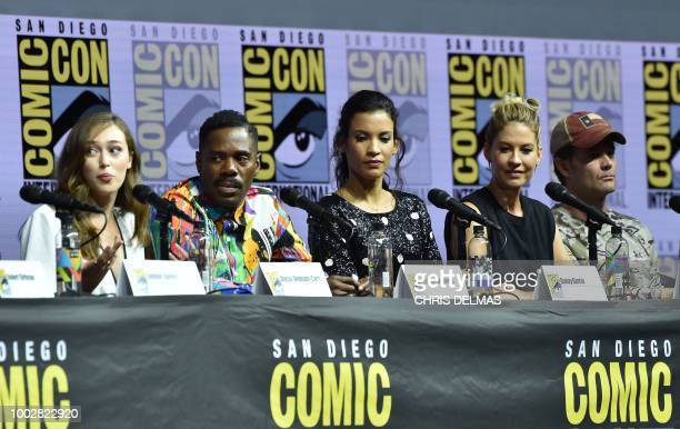 Alycia DebCarey Colman Domingo Danay Garcia Jenna Elfman and Garret Dillahunt participate in the panel discussion for 'Fear the Walking Dead' during...