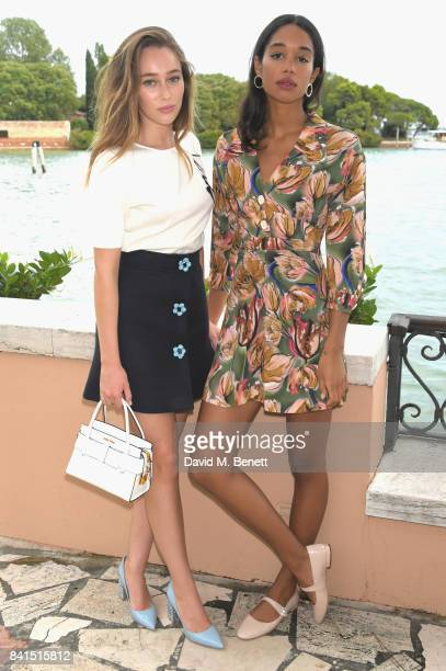 Alycia DebnamCarey and Laura Harrier attend an intimate lunch hosted by Livia Firth Carlo Capasa and Caroline Scheufele to announce Chopard as...
