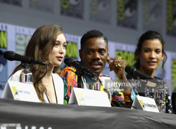 Alycia DebnamCarey Colman Domingo and Danay García attend the 'Fear the Walking Dead' panel with AMC during ComicCon International 2018 at San Diego...