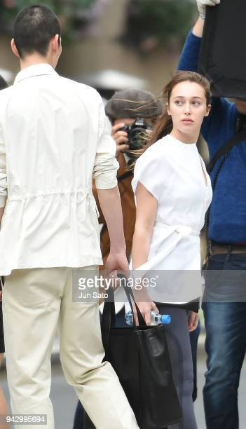Alycia DebnamCarey is seen filming on the streets of Nihonbashi on April 7 2018 in Tokyo Japan