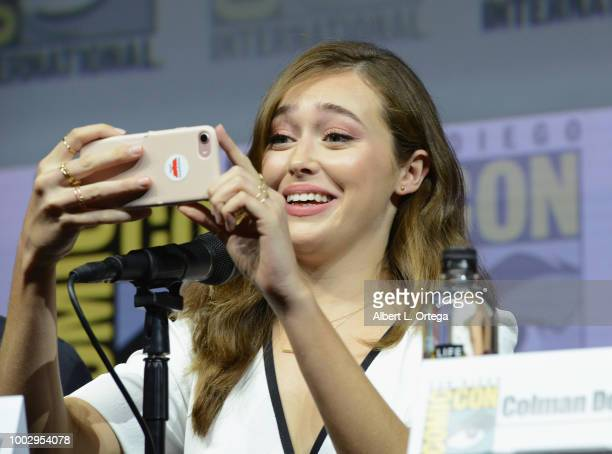Alycia DebnamCarey speaks onstage at AMC's 'Fear The Walking Dead' panel during ComicCon International 2018 at San Diego Convention Center on July 20...