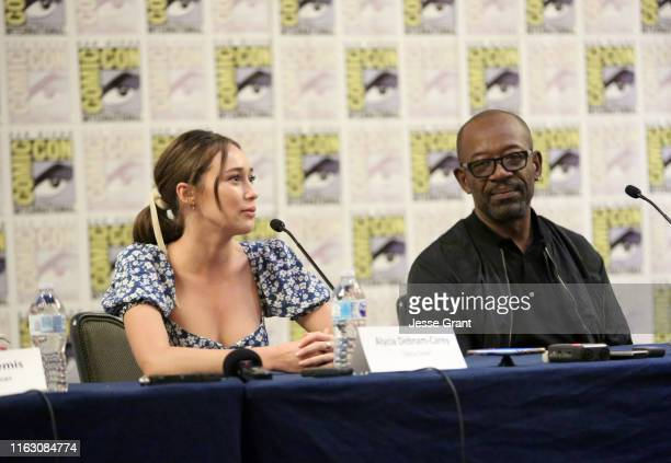 Alycia Debnam-Curry and Lennie James speak at the Fear The Walking Dead Press Conference at Comic Con 2019 on July 19, 2019 in San Diego, California.
