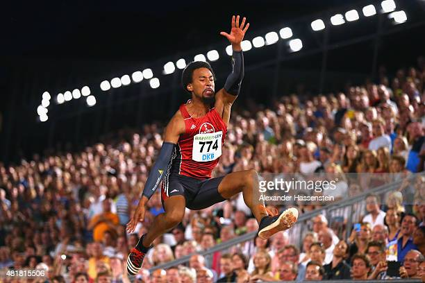 Alyn Camara of Bayer Leverkusen competes in the mens long jump finale at Hauptmarkt Nuremberg during day 1 of the German Championships in Athletics...