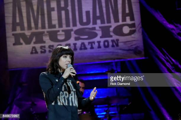 Alynda Lee Segarra of Hurray for the Riff Raff performs onstage during the 2017 Americana Music Association Honors Awards on September 13 2017 in...