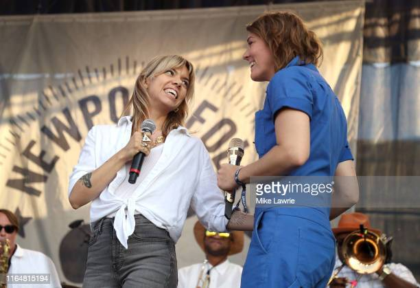 Alynda Segarra of Hurray for the Riff Raff and Brandi Carlile perform during the If I Had A Song tribute set during day three of the 2019 Newport...