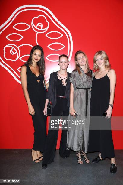 Alyne Lia Morgane Lecouet a guest and Sofia Forsman attend the #Ultimune Launch Event on May 31 2018 in Paris France