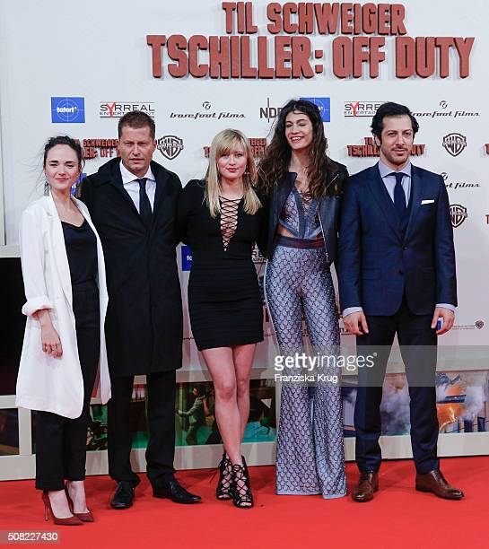 Alyona Konstantinova Til Schweiger Luna Schweiger Berrak Tuezuenatac and Fahri Yardim attend the 'Tschiller Off Duty' German Premiere In Berlin on...