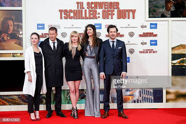 Alyona Konstantinova Til Schweiger Luna Schweiger Berrak Tuezuenatac and Fahri Yardim attend the 'Off Duty' German Premiere on February 03 2016 in...