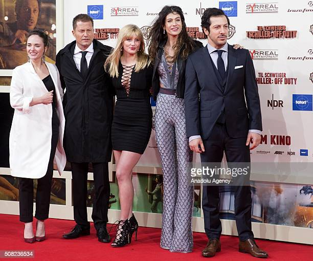 Alyona Konstantinova Til Schweiger Luna Schweiger Berrak Tuzunatac and Fahri Yardim attend the 'Tschiller Off Duty' German Premiere in Berlin Germany...
