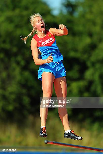 Alyona Lutkovskaya of Russia reacts during Women's Pole Vault final at Ekangen Arena on July 18 2015 in Eskilstuna Sweden