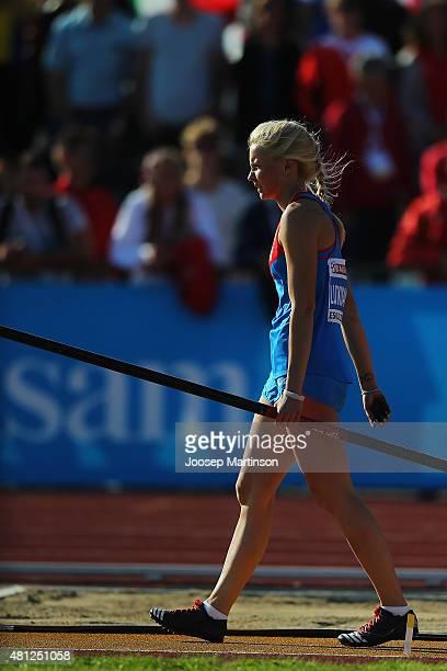 Alyona Lutkovskaya of Russia reacts during Women's Pole Vault final at Ekangen Arena on July 18 2015 in Eskilstuna Sweden